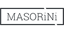 The Masorini logo. Black text in a typewriter-style font, surrounded by a black box.