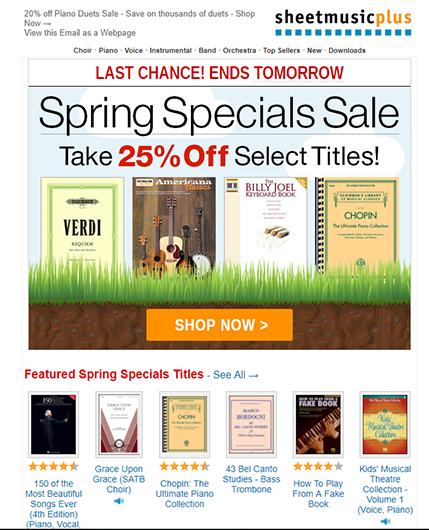 email marketing design sample CTA button